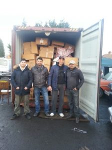The container, now full of aid including new coats, blankets and track suits and the excellent Brothers who loaded it all.