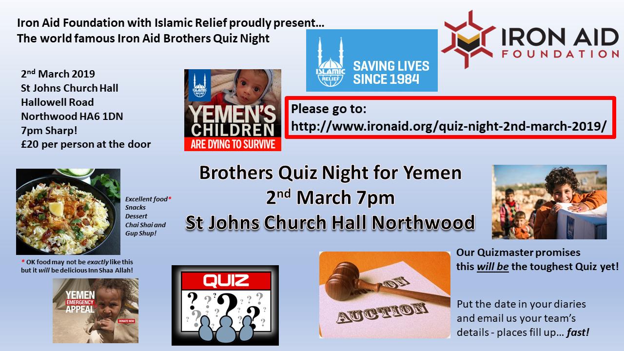 Brothers Quiz Night for Yemen - March 2019
